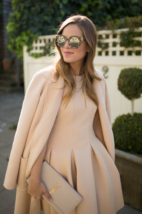 Spring / Summer - Fall / Winter - street chic style - neutrals - party style - dressy style - business casual - office wear - work outfit - nude coat + nude sleeveless pleated fit and flare dress + nude clutch + nude stilettos + leopard print mirror sunglasses
