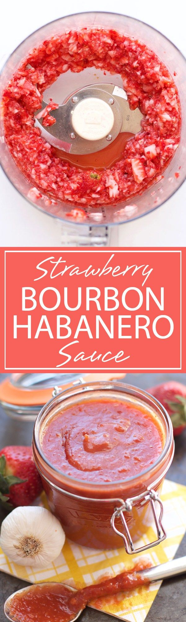 Strawberry Bourbon Habanero BBQ Sauce | Sweet, oaky and spicy flavors are bursting in this Strawberry Bourbon Habanero BBQ Sauce. Get ready to use this recipe for all your grilling adventures! | forkknifeandlove.com                                                                                                                                                                                 More