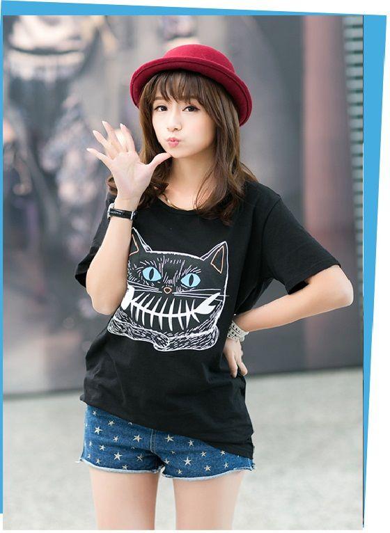 Camisetas de moda para mujer Casual manga corta Cat Animal Print Negro Algodón  Precio: $ 67.300  Talla: M L XL