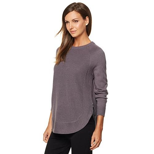 G by Giuliana Crew Neck Sweater with Side Zips - Ivory/Off White