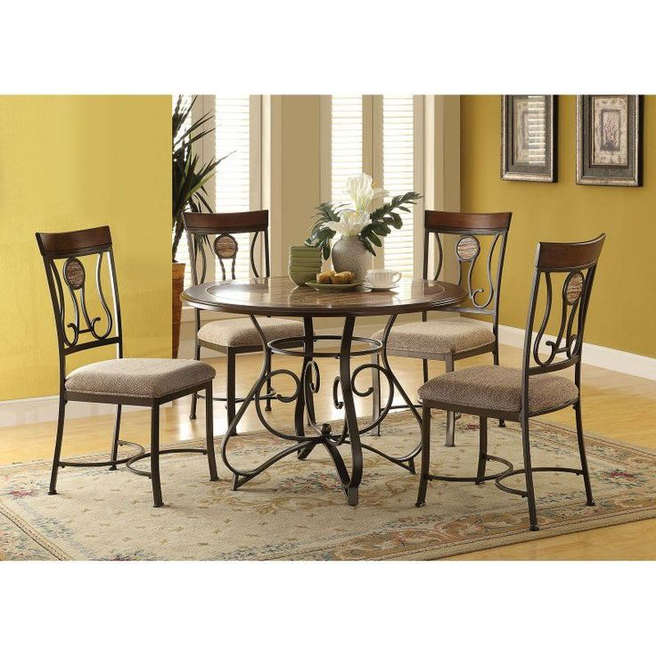 Acme Furniture Barrie 5 Piece Round Dining Table Set