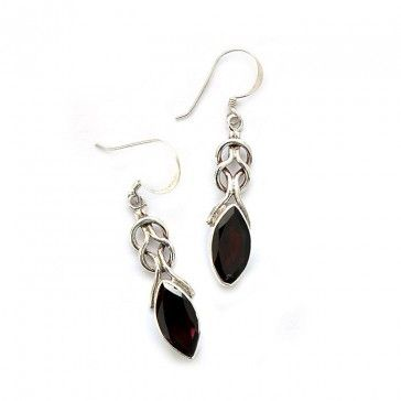 Garnet Earrings 1 - Earrings - Silver Jewellery - Jewellery