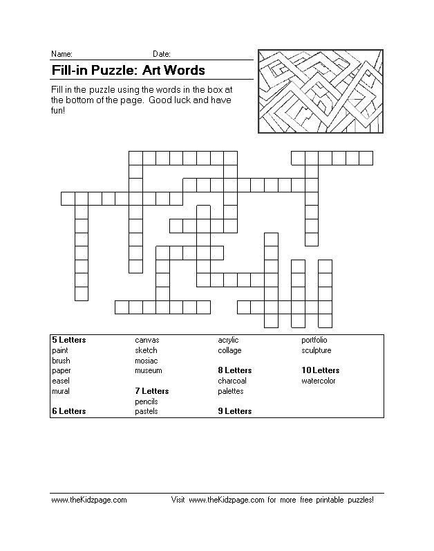 Fill-in Puzzle: Art Words - Free Printable Learning Activities for Kids - Printable Colouring Sheets  Great for word finding, problem-solving, reading, deductive reasoning, and more!