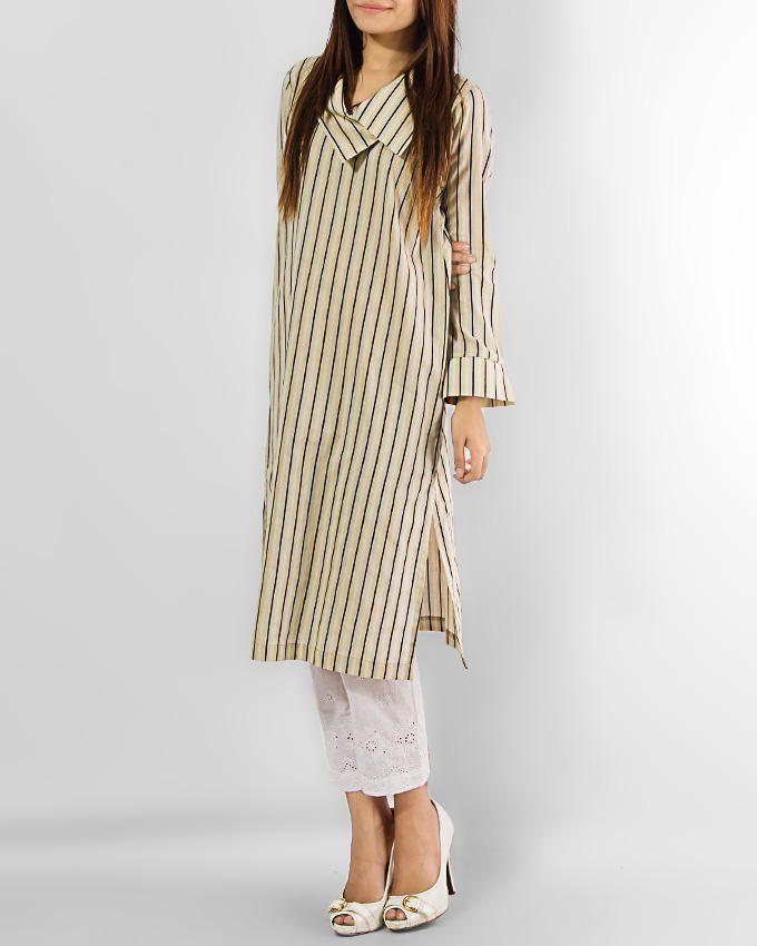 Daaman Yellow Stripes Stripes Bright Start Kurta | Buy online | daraz.pk