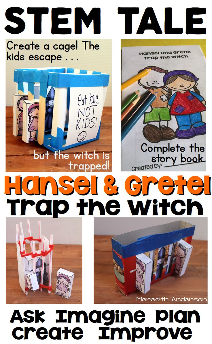 STEM Activity for Kids - use a familiar fairy tale to work through the engineering design process.Hansel and Gretel Trap the Witch is perfect for your little engineers in grades 1-3.   Ask Imagine Plan Create Improve