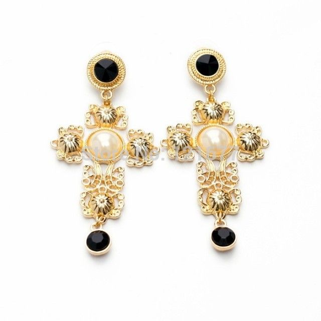 2015 stile barocco nuova moda accessori per oro grande orecchini pendenti croce per le donne di marca estate gioielli caramelle perla orecchino cc(China (Mainland))
