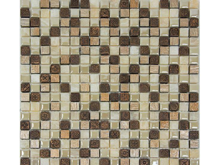 Mos bukara ambra 0173 mm42 30x30 bx iperceramica mosaici bagno pinterest - Mosaico vetro bagno ...