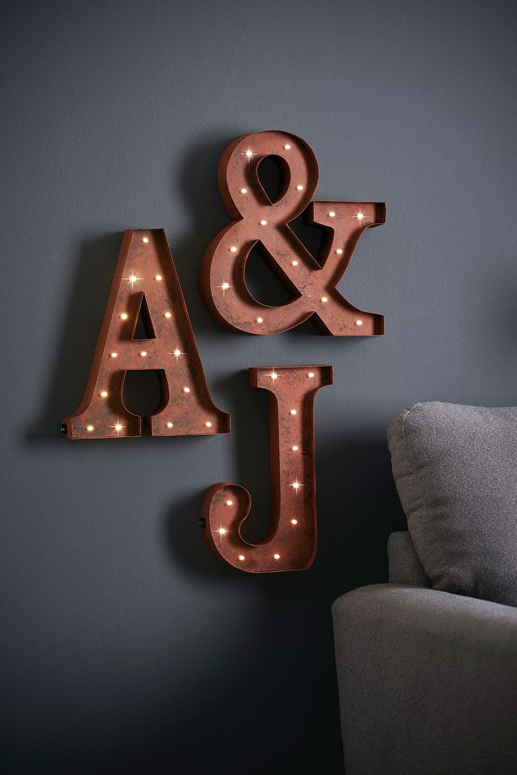 add a personal touch to your home with this stylish lit alphabet wall plaques from next
