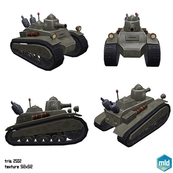 Low Poly Tank Old