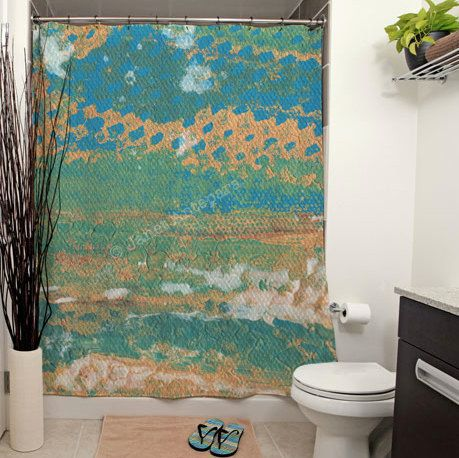 Playa Del Rey Shower Curtain. Playa Del Rey is a soft abstract painting with blue, white and teal strokes of color against a sandy colored