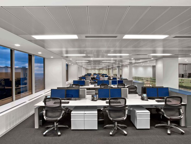 ION Trading in New York, NY USA #architectural #lighting --- RAY is a linear system for high-quality direct illumination with multiple mounting options. With efficiencies over 80%, RAY delivers ample illumination, while remaining well under ASHRAE 90.1 lighting power allowances. IC Controls equip a RAY system to reduce energy consumption further still. Flush or regressed lenses with VL Optic™ assure visual comfort.