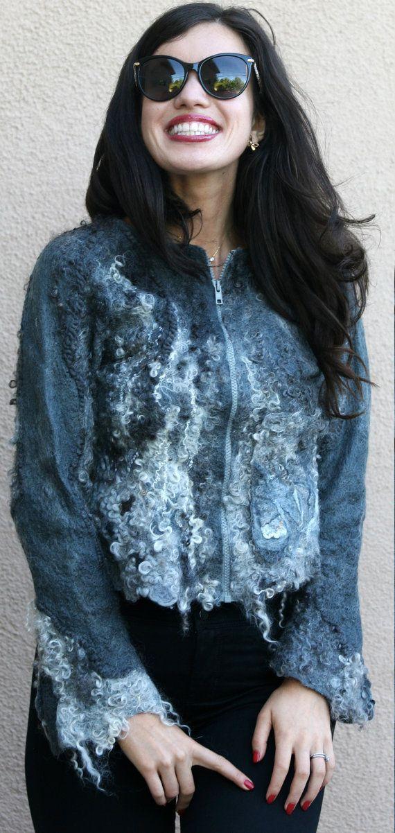Nuno felted eco fashion fur silver grey jacket woman handmade unique cardigan…