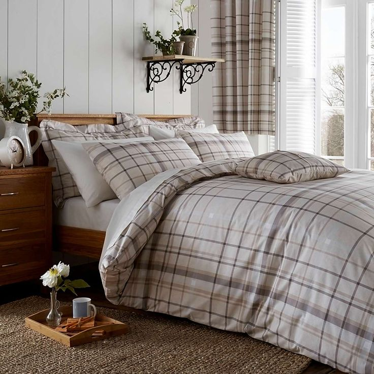 Check Natural Bed Linen Collection | Dunelm