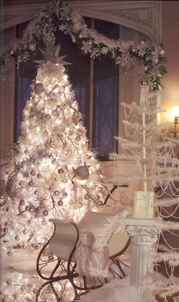 513 best Christmas in Silver  White images on Pinterest Christmas - white christmas tree decorations