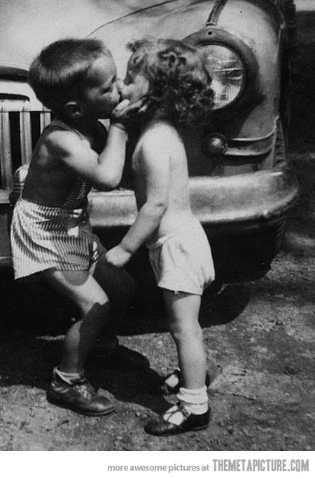 I was a little bit older than this when I had my first kiss. For the first time I felt fireworks and he took my breath away...someone and somethings you will never forget.