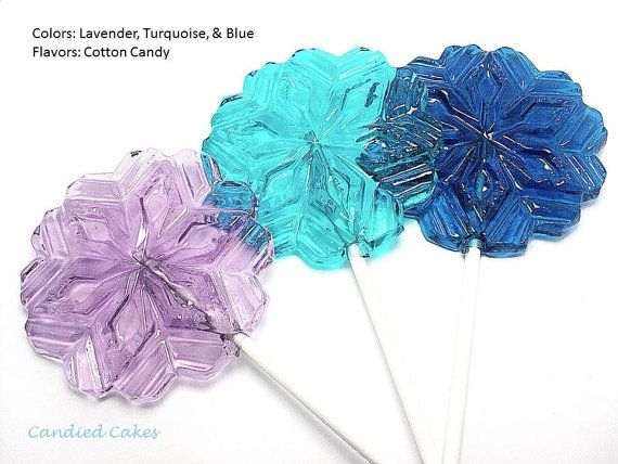 12 LARGE SNOWFLAKE LOLLIPOPS