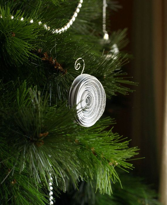 Silver Paper flower Christmas ornament tree ornament by PulpPetals, $22.80