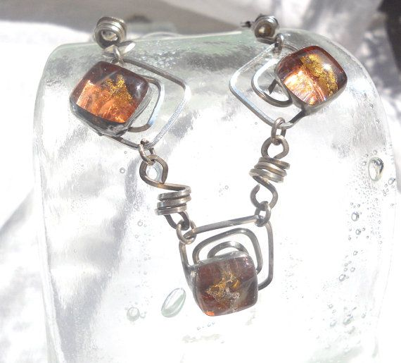 """Silver and pink necklace fused glass buds unique by LaTerraCantaMONTH JANUARY DISCOUNT CONTINUE!!! """"RENEWAL1"""" 30%off"""