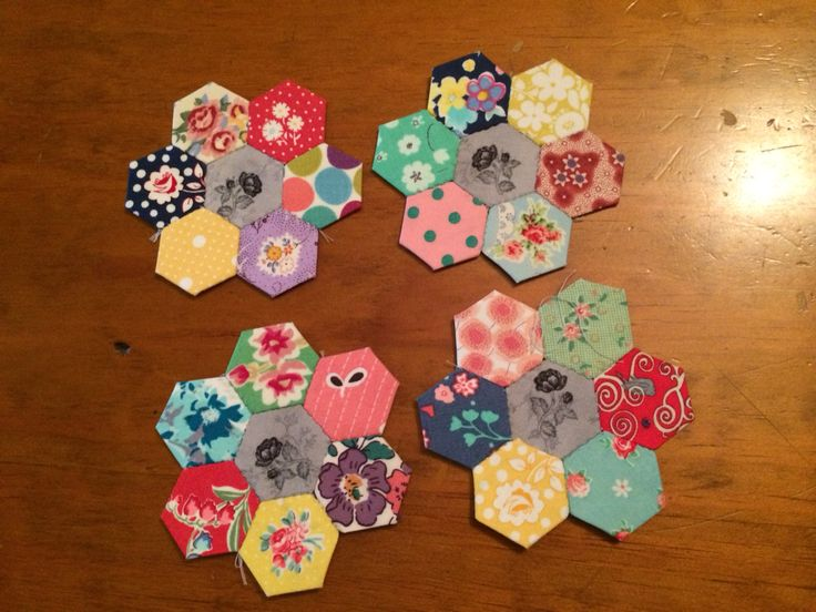 Hexie flowers English paper piecing Emma Mary quilt