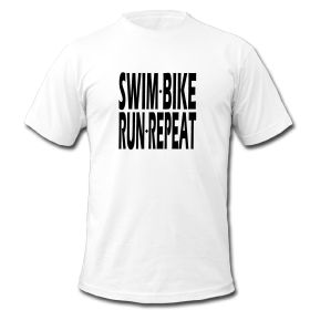 Celebrate triathlon and your active lifestyle with this Swim Bike Run Repeat design. This t-shirt design is perfect for triathletes.
