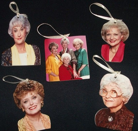 This is too funny. Golden Girls Christmas ornaments.
