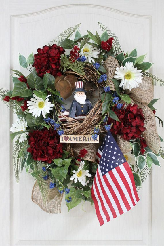 patriotic wreaths for front door411 best Primitive Summer  Americana images on Pinterest