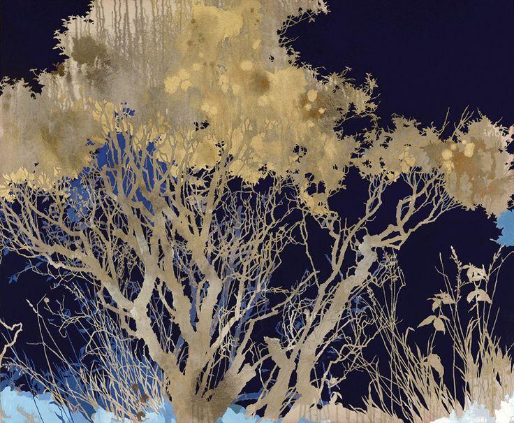 dark blue night oil, graphite and gold pigment 100 x 120 cm 2015