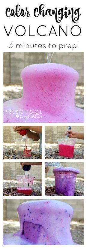 Make a quick and easy color changing baking soda and vinegar volcano for kids! 2