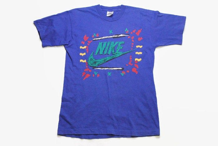 Vintage Nike Big Logo Authentic T Shirt Blue Cotton Athletic Tee Retro 90s Rare Size S Sport Outfit Top Rave Hip Hop Sty In 2020 Vintage Nike Sport Outfits Top Outfits