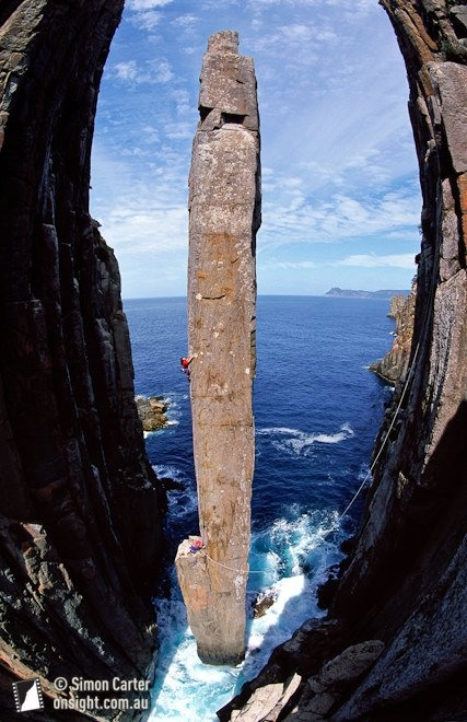 Roxanne Wells on pitch two of The Free Route (25), The Totem Pole - an incredible 65-metre dolerite column at Cape Hauy, Tasmania, Australia