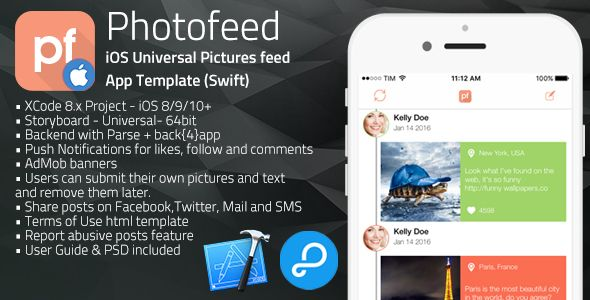 Photofeed | iOS Universal Social Photo feeds App Template (Swift) . Photofeed has features such as Compatible With: Swift, Software Version: iOS 10.0.x, iOS 9.0.x, iOS 8.4.x, iOS 8.3.x, iOS 8.2.x, iOS 8.1.x, iOS 8.0.x
