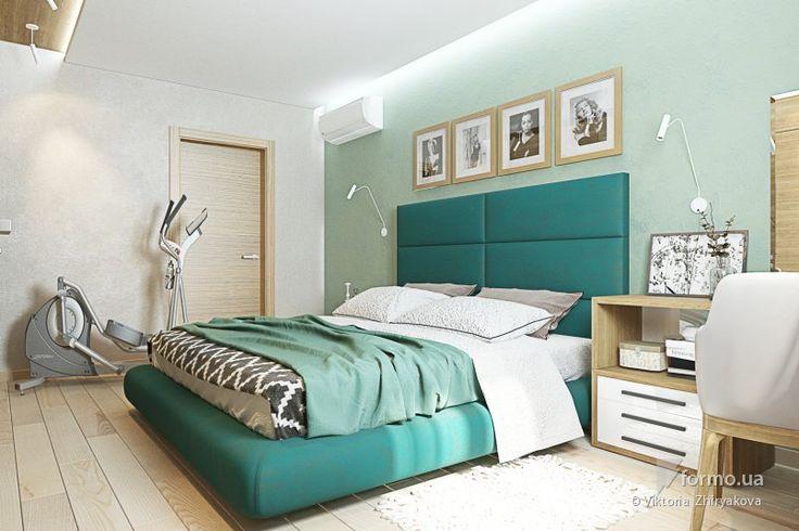 Нежно-изумрудная спальня и санузлы
