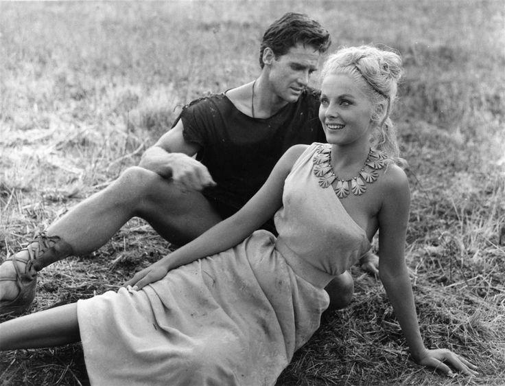 Steve Reeves e Virna Lisi durante la lavorazione di Titanus