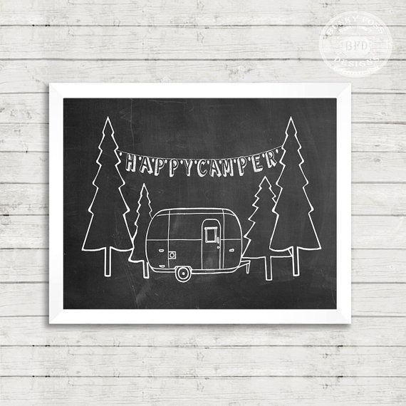 Chalkboard Printable, Camper, Airstream, Happy, Camper, Camping, Sign, Printable, Digital Art, Gift, Chalk Print,- Happy Camper