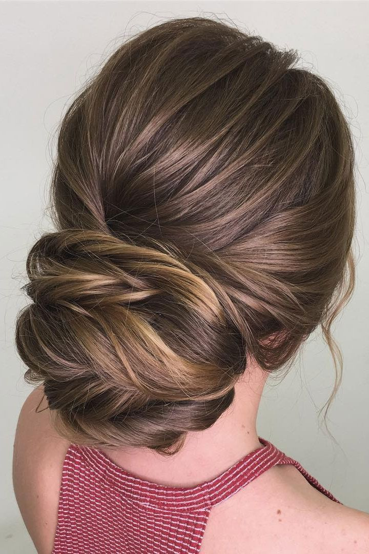 Elegant Low Bun Hairstyle With Blonde Highlights Prom Hairstyle