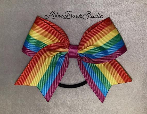 Rainbow Hearts Pride Cheer Bow Keychain Gift