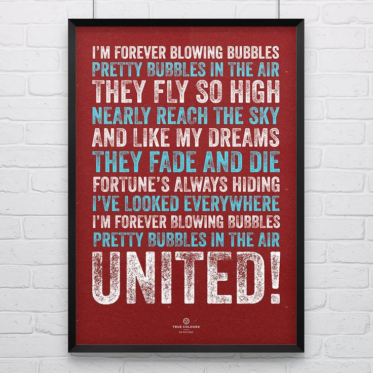 West Ham United FC 'Blowing Bubbles' Song Print/Poster.Print is supplied unframed and packaged securely in a thick cardboard tube.A classic song from the terraces at the Boleyn Ground and a perfect gift for a Chelsea FC Fan. Designed and produced in the UK, our prints are vintage inspired and look great whether they're on the walls of your local pub, your workplace or in your home. Show your True Colours!Printed in the UK on thick 250gsm recycled card.A2 - 59.4cm x 42cm (23.5 x 16.5in)