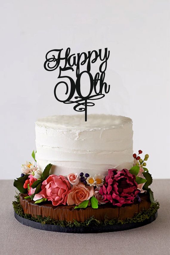 Happy 50th Birthday Cake Topper 50 Years by HolidayCakeTopper