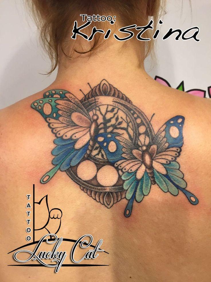 Cover-Up naar Vlinders Lucky Cat Tattoo | 's-Hertogenbosch