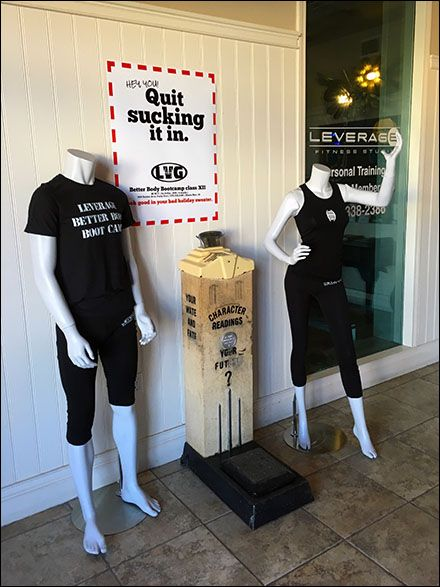 """Lobby advertising of a """"Better Body Boot Camp"""" in multi-use retail incubator includes mannequins, antique scale, Boot Camp T-Shirts, and Leverage® Fitness Center branded sweats. Impossi…"""