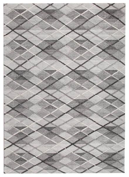 This rug features beautiful patterning in a luxurious Wool & Viscose finish: Vienna 2352 Hand Loomed Grey and White Cross Hatch Patterned Wool and Viscose Modern Rug