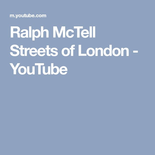 Ralph McTell Streets of London - YouTube