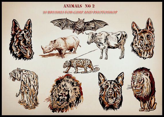 Animals  10 Photoshop brushes for GIMP and by AszArt on Etsy
