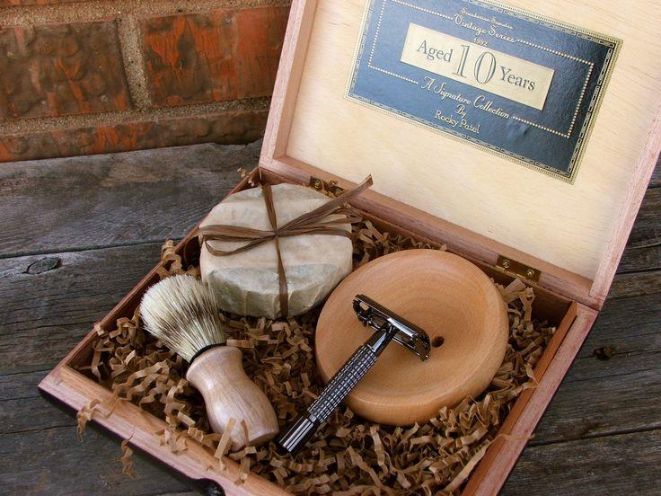 Wooden Men's Shave Set with Vintage Cigar Box