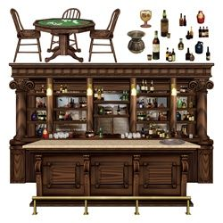 Create the look of an old Western Saloon with this set of fifteen western saloon props. This wooden western bar decoration can be used with the wallpaper backdrop to transform your entire wall into a western theme bar for country western theme parties.