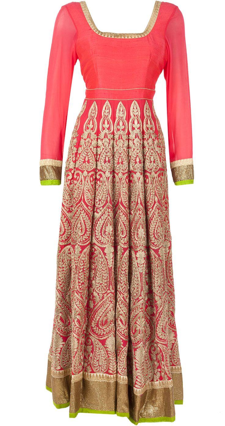 Coral aari kali kurta set available only at Pernia's Pop-Up Shop