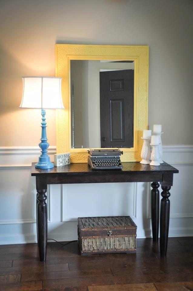 Entry way table DIY lamp DIY candle sticks DIY yellow ...