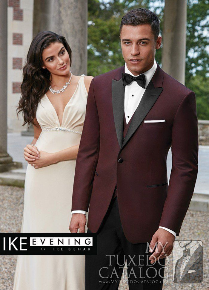 Burgundy Slim Fit Tuxedo with Black Lapel - Marbella