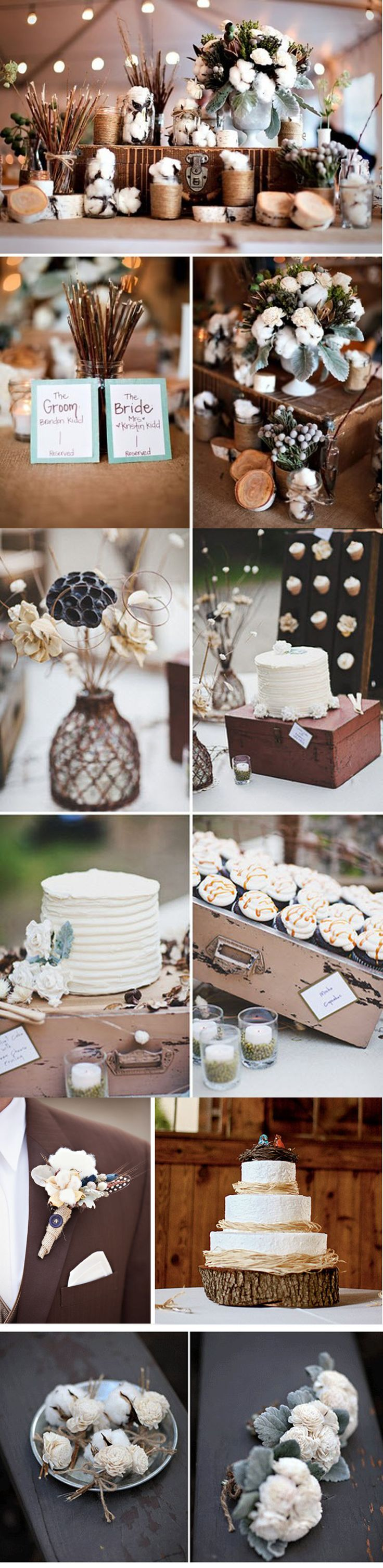 love the idea of adding the cotton; good ideas for my lil country wedding