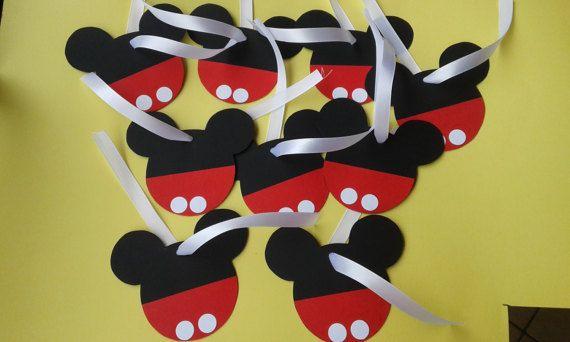Tag/Grazie/Thanks for coming/Primo compleanno/compleanno/handmade/decorazioni festa/Topolino/Mickey Mouse di FrancyHappyShop su Etsy
